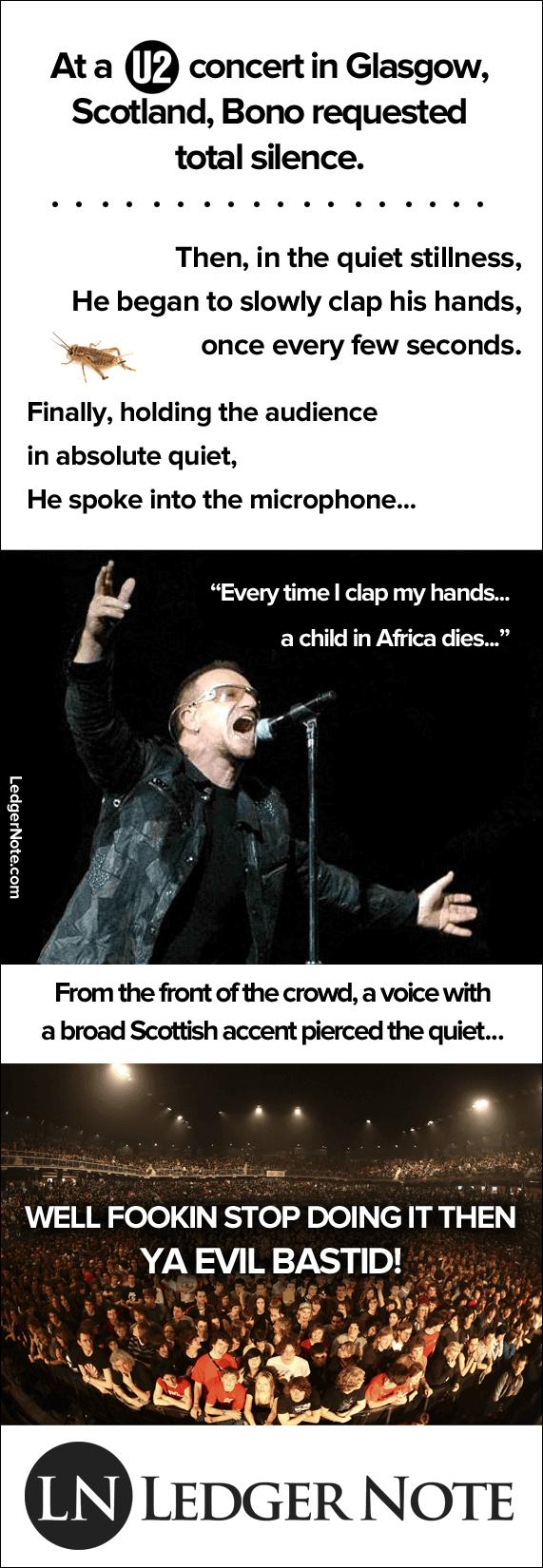 U2 bono joke clap africa child