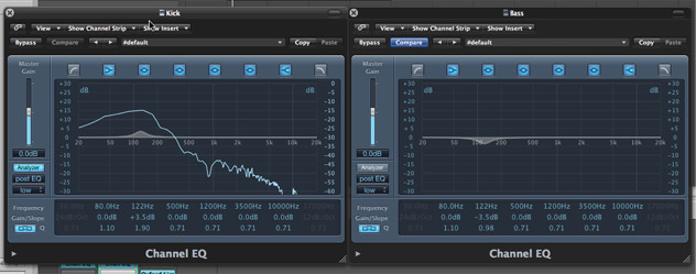 boost and cut when mixing kick and bass to create pockets for each instrument