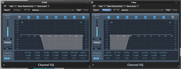 roll off high pass low pass EQ for bass and kick