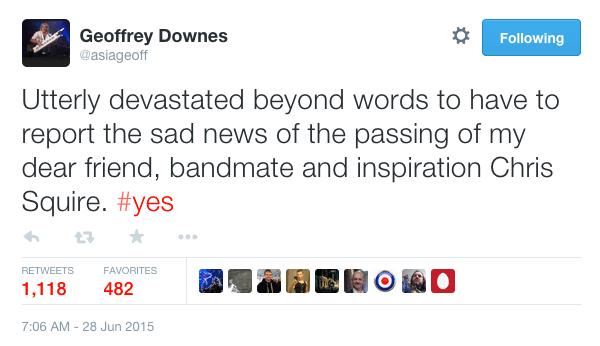 geoffrey downes chris squire died tweet