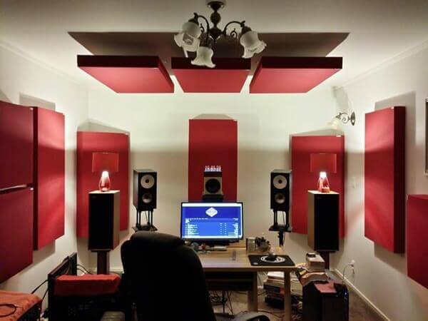recording room with acoustic treatment