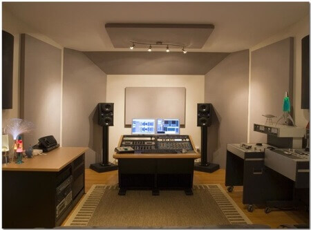 studio room with acoustic treatment