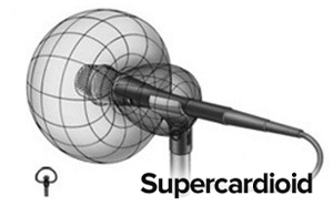 Supercardioid pickup pattern