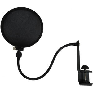 pop filters help reduce plosives by blocking wind out of the vocalist's mouth