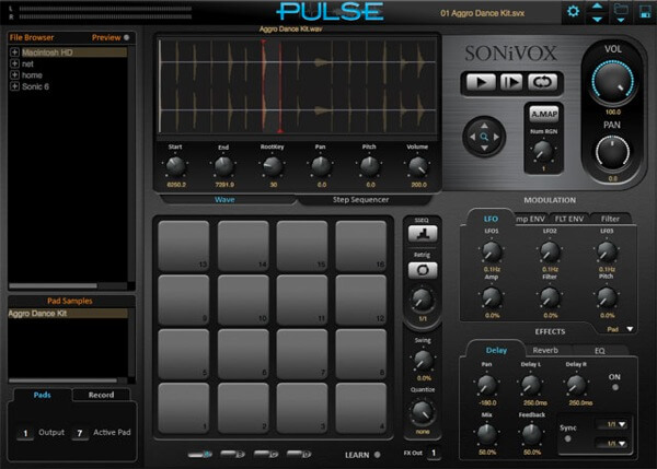 pulse drum sequencer for dubstep