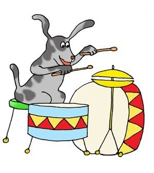 dog drumming clip art