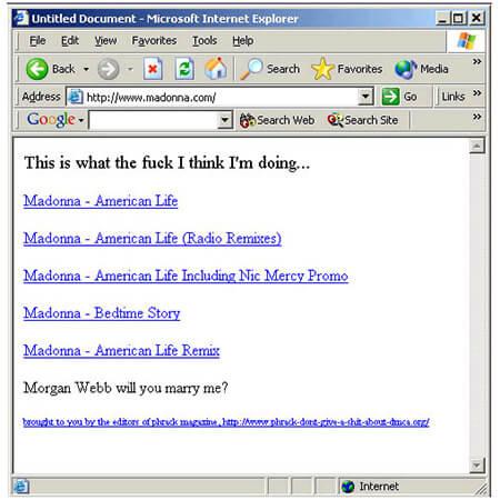 madonna site hacked image