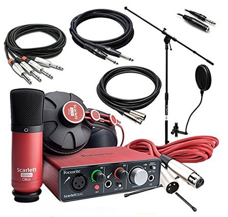 scarlett solo recording interface and microphone set