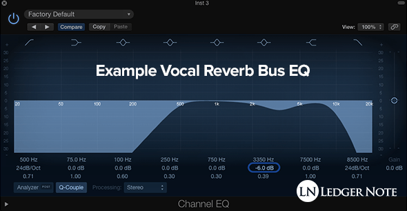 an example reverb equalization applied on the reverb bus with a parametric equalizer plugin on a digital audio workstation