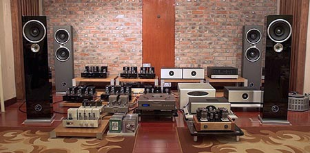 listening room with outboard studio gear