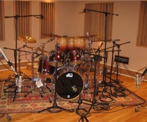 drum kit miked up