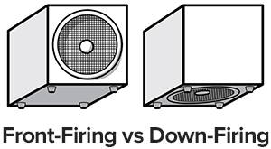 front-firing vs down-firing subwoofers
