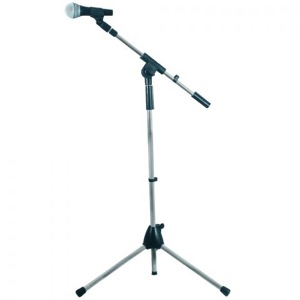 microphone on boom on tripod stand