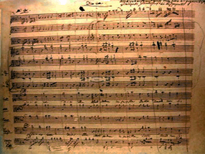 mozart handwriting sheet music transcription