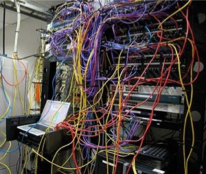 patchbay jungle of cables