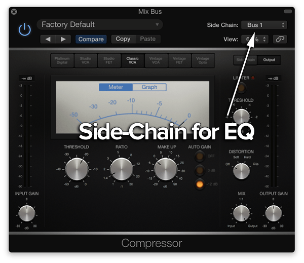 side-chain detector on bus compression