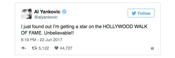 Weird Al Hollywood Walk of Fame Star Announcement