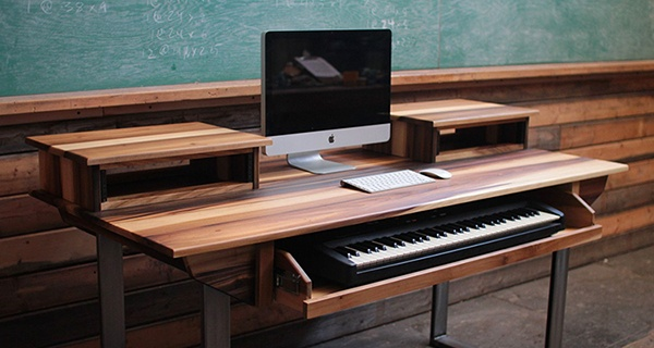 studio desk sliding keyboard shelf