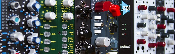 rack of studio mixing equipment