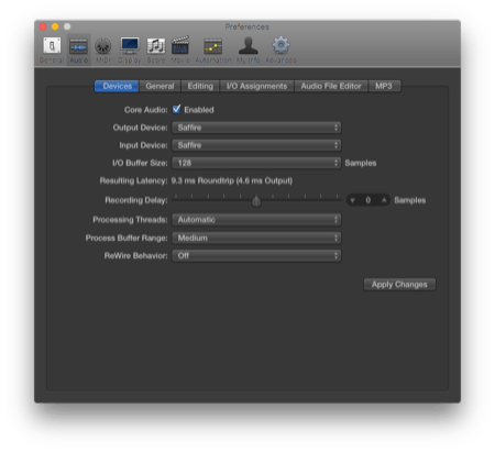 Logic Pro X sound settings - make sure you're choosing your audio interface as the input and output source