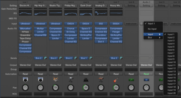 audio input selection on multitrack mixer