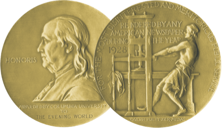 Pulitzer Prize medal front and back