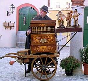 barrel organ street performer