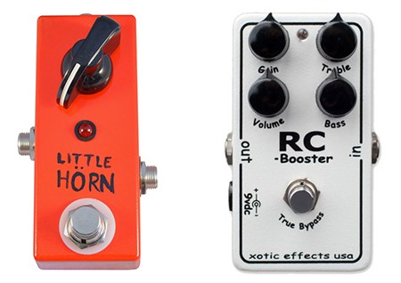 simple nano boost pedal and complex option - the little horn and rc booster, two of the best boost pedals out there