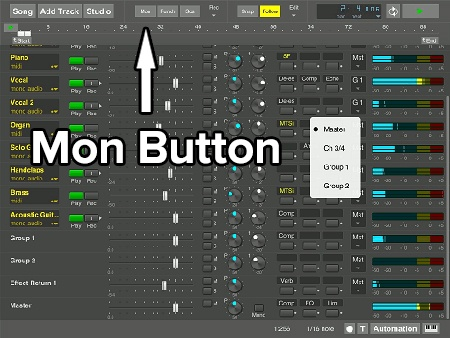 Multitrack Studio Mon Button for direct monitoring through the digital audio workstation