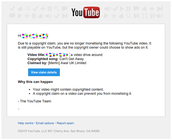 an actual youtube claim over copyrighted music