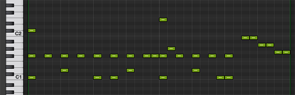 simple drum pattern on a MIDI piano roll on Logic Pro
