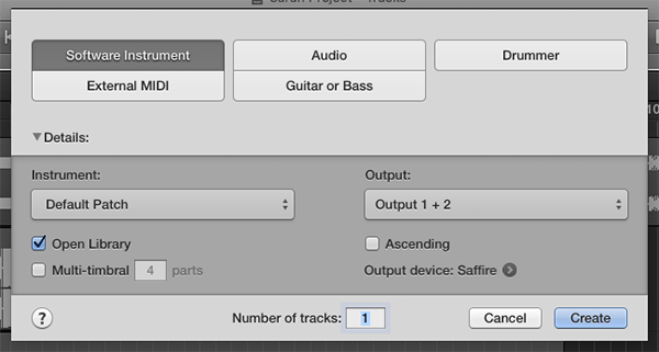MIDI track options, including software instrument, external midi, guitar or bass, or drummer on Logic Pro X