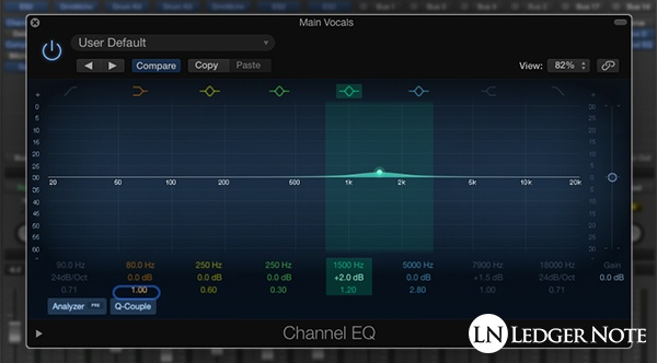 Add clarity to vocals in the 1 kHz to 2 kHz frequency range using an EQ plugin