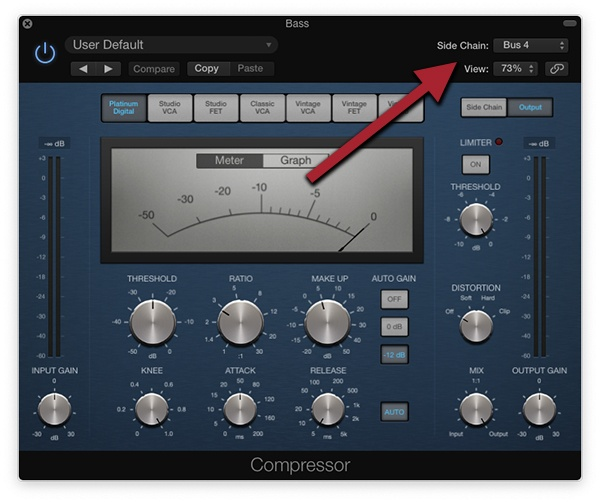 sidechain compression for bass and kick drum