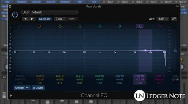 add a high shelf and high roll off to the vocal track's EQ