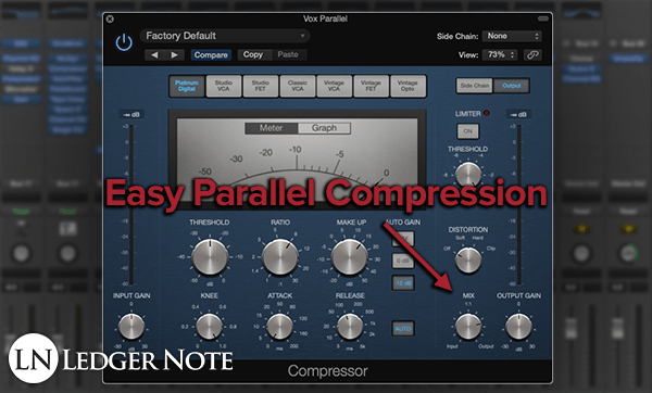 easy parallel compression with the mix ratio knob