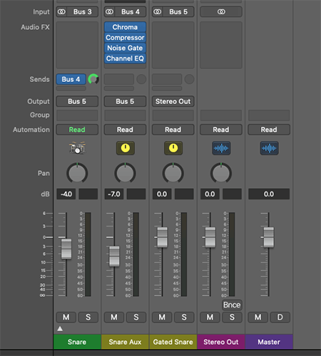 gated reverb setup on multitrack mixer