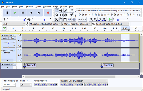 Audacity is the king of free audio editing software