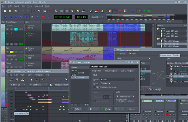 Qtractor is a full blown music production suite and free audio editor but the caveat is it is for Linux only