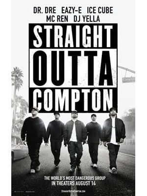 Straight Outta Compton is a newer music movie on the list and is about the rap group NWA's story.