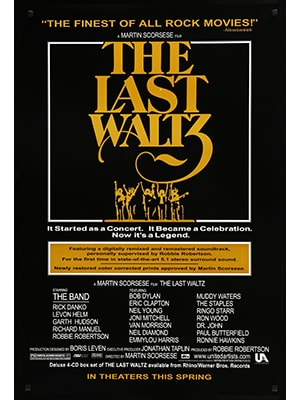 The Last Waltz is a music documentary about a huge concert by The Band that features tons of other famous rock stars